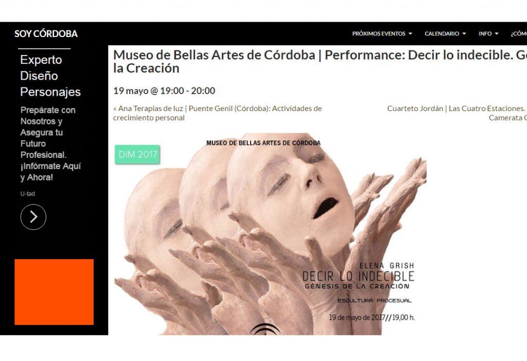 SOY CORDOBA_DECIR LO INDECIBLE GÉNESIS DE LA CREACION_ELENA GRISH ART_MUSEO BELLAS ARTES DE CORDOBA