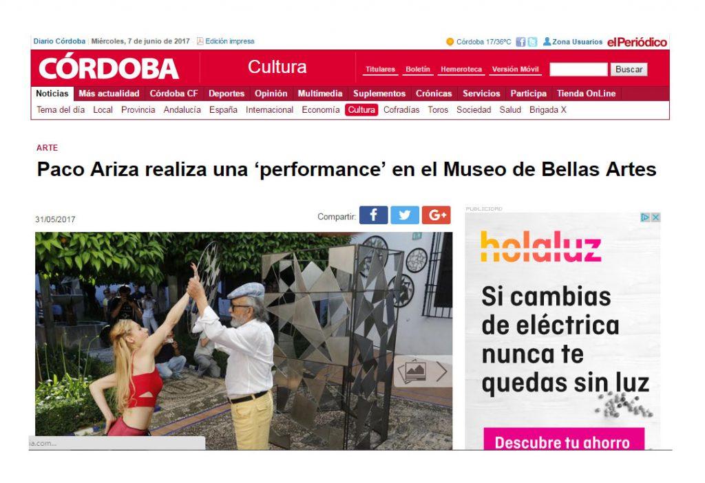 DIARIO CORDOBA_PERORMANCE_LIBELULA_PACO ARIZA Y ELENA GRISH_MUSEO BELLAS ARTES CORDOBA