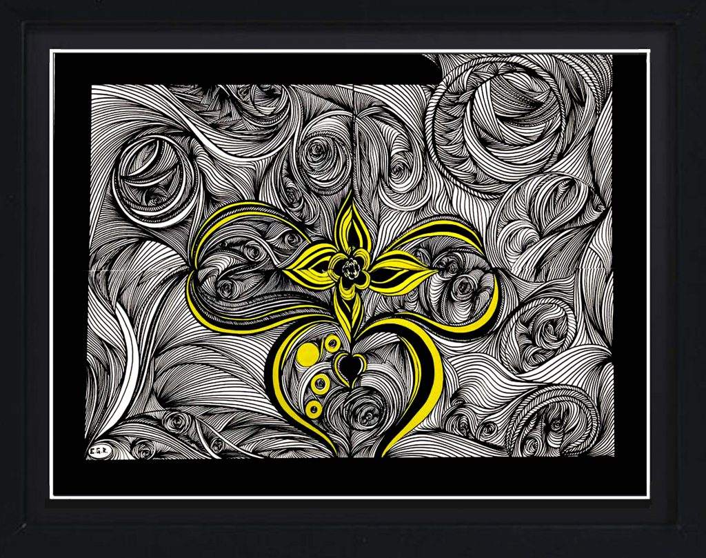 yellow heart over black_painting_abstraction_elena grish art