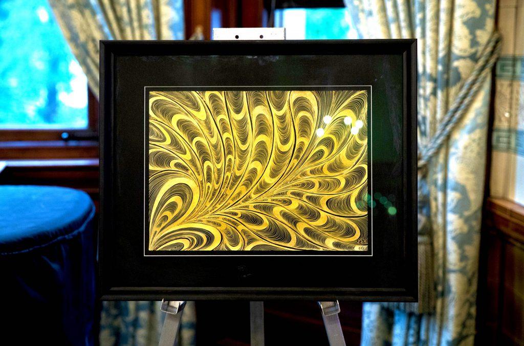 WTW Charity Dinner 2019 009_elena grish art_gold ink painting